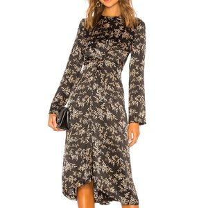 Vince Eden Leaf Twist Front Silk Midi Dress